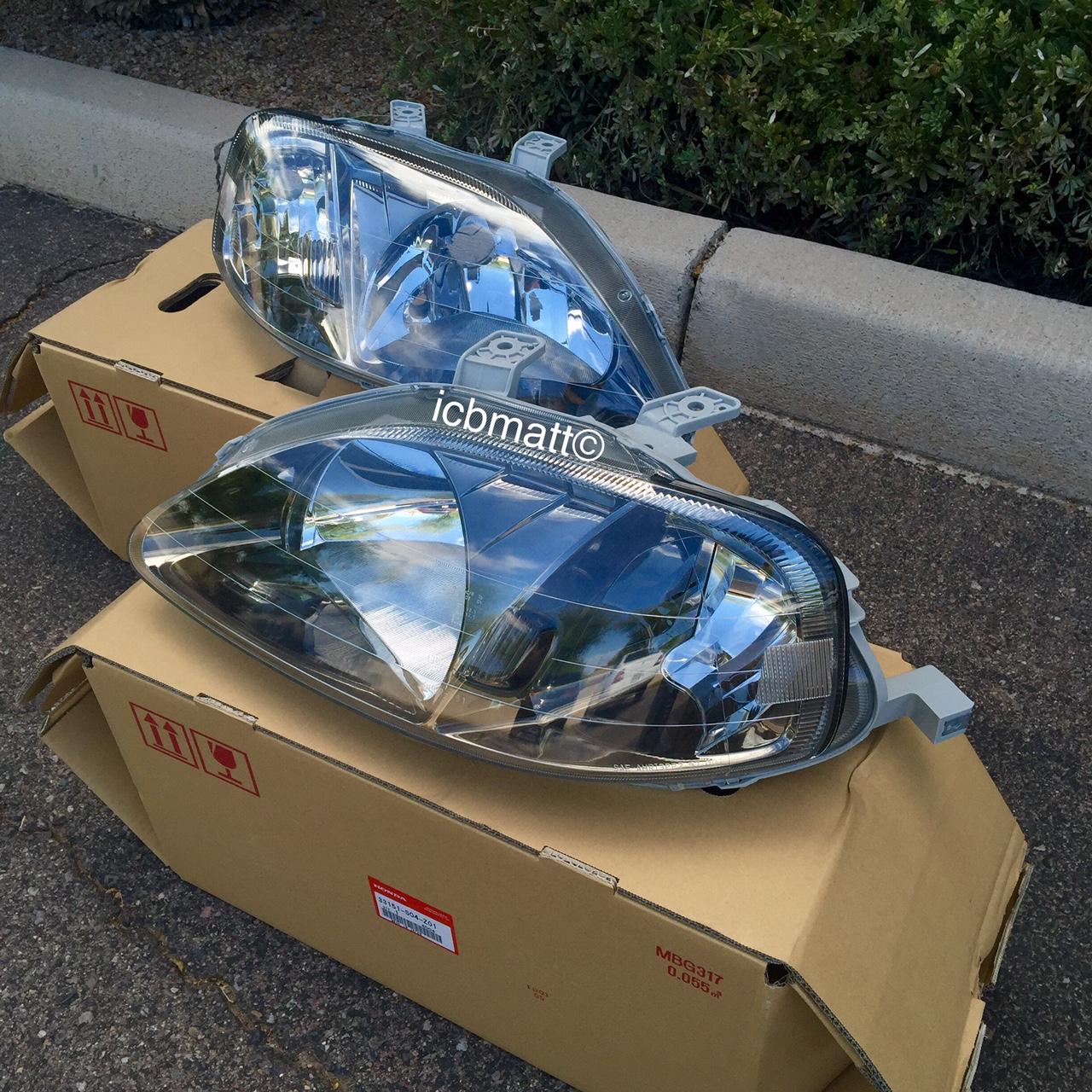 Jdm Civic Ek9 Type R 99 00 Headlight Gun Metal Housing Set