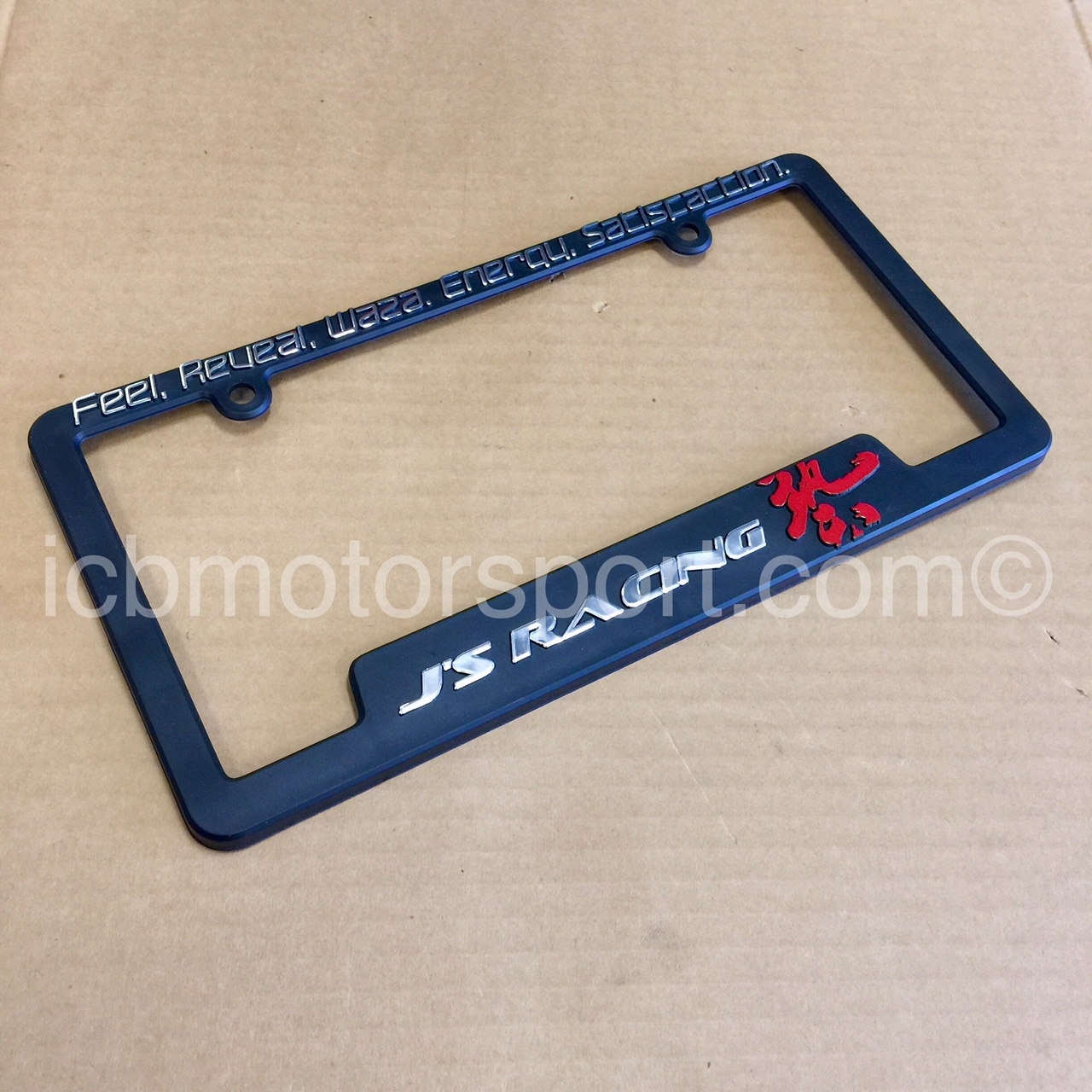 Blue Racing Stripe Carbon Fiber Black License Plate Frame Honda Civic
